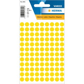 Herma Sticky Dots 1844, yellow Ø 8 mm, 540 pc.